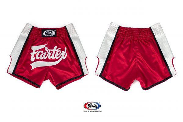 Fairtex Slim Cut Shorts -Red/White-Front/Back