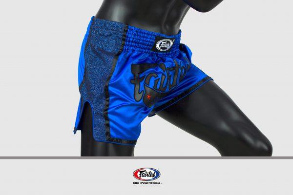Fairtex Slim Cut Shorts-Black/Blue Front