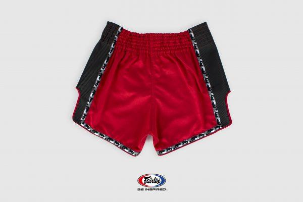 Fairtex Slim Cut Shorts-Red/Black-Back