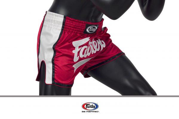 Fairtex Slim Cut Shorts-Red/White-Front