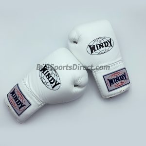 Windy Lace-Up White Boxing Gloves