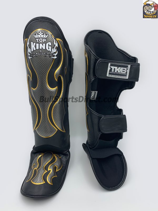 Black and Silver Top King Shin Pads Empower01