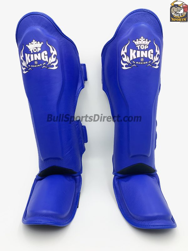 Front of blue pro Muay Thai shin pads semi leather