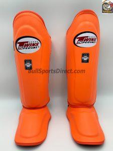 Twins Leather Shin Guards- SGL10-Orange