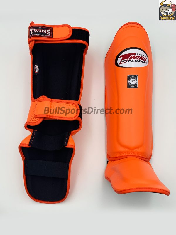 Twins Leather Orange Shin Guards- SGL10