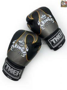 black and silver Top King boxing gloves empower1