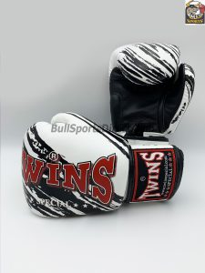 Twins Fancy White Black Boxing Gloves FBGV-TW2
