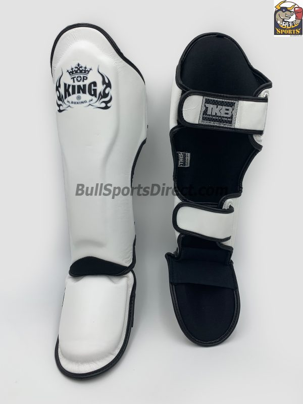 White Pro Muay Thai shin pads Top King genuine leather