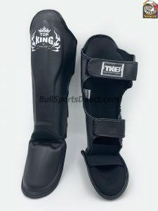 Pro Muay Thai black shin pads Top king