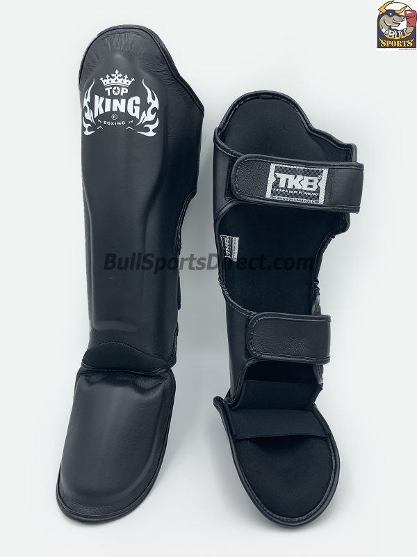Pro Muay Thai black shin pads Top king