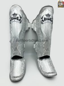 Silver and white Pro Muay Thai Shin pads Top King super snake