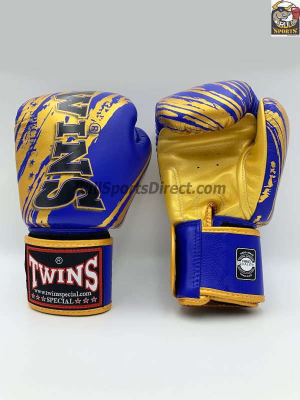 Twins Blue Gold Boxing Gloves FBGV-TW2