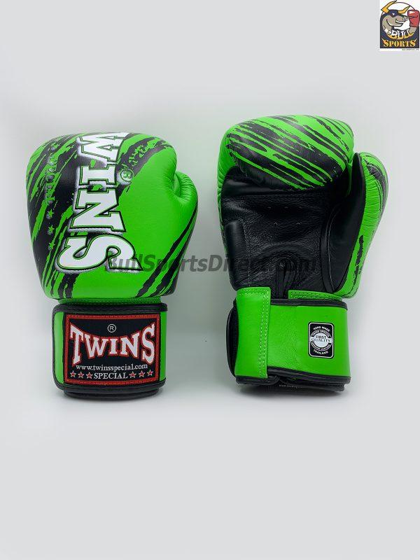Twins Black Green Boxing Gloves FBGV-TW2