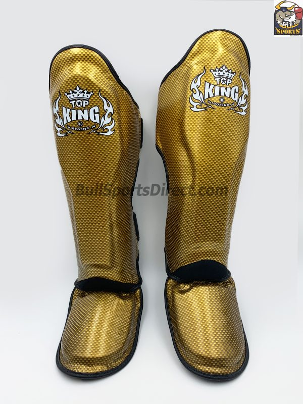 Golden and black Top King Muay Thai Shin Pads Empower2