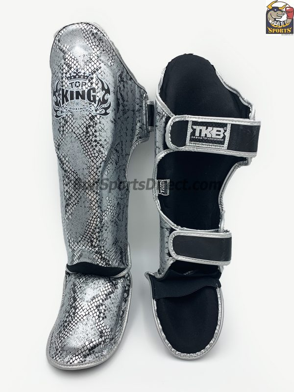 Silver Pro Muay Thai shin pads Top King super snake