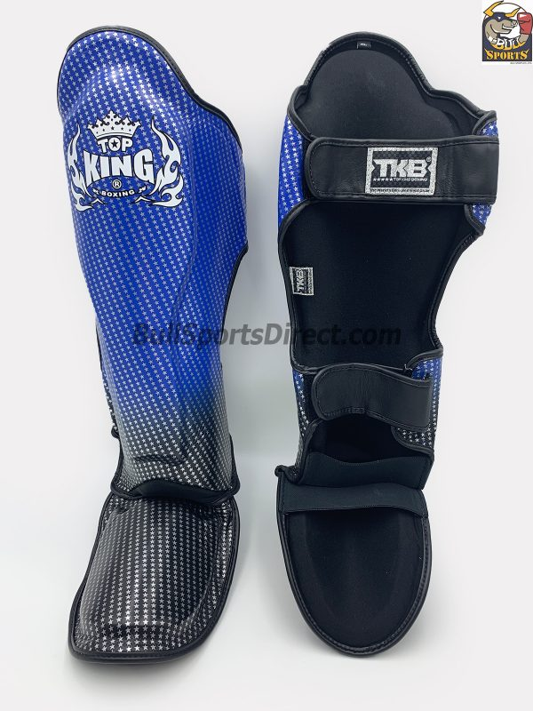 Blue and black Pro Muay Thai shin pads Top King super star