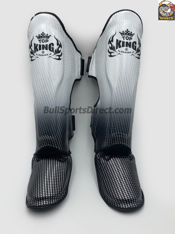 Black and white Muay Thai shin pads Top king super star TKSGSS-01