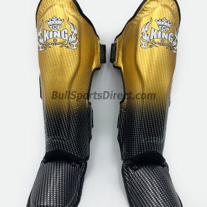 Golden and black Muay Thai shin pads Top King super star