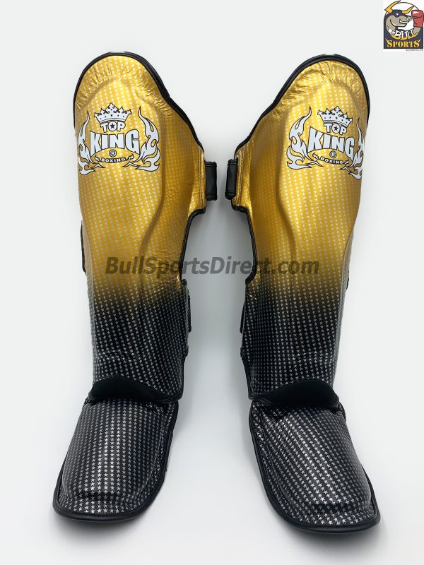Golden and black Muay Thai shin pads Top King super star