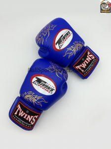 Twins Boxing Gloves FBGV-6-Blue Gold Dragon Body