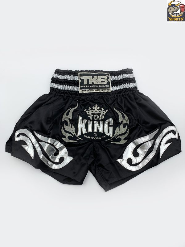 Top King Muay Thai Shorts-Black/Silver