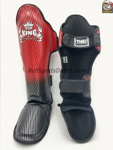 Red and black Pro Muay Thai shin pads super