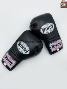 Windy Boxing Gloves BGL Lace Up Black