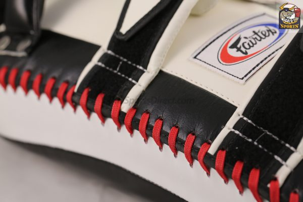 Fairtex-Black White Curved Kick Pads-KPLC2