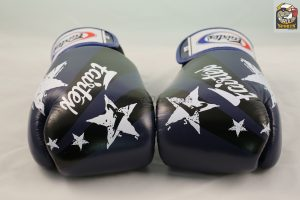 Fairtex Tight Fit Boxing Gloves Blue Nation Print