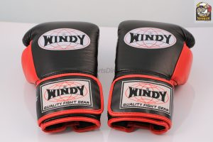 Windy Black Red Boxing Gloves - Pro Line