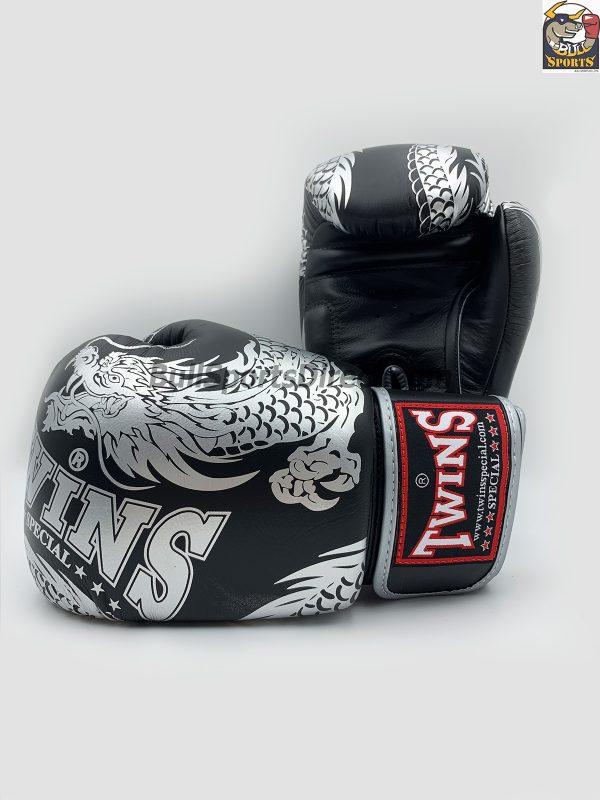 Twins Boxing Gloves-FBGV-49 Silver Black Flying Dragon
