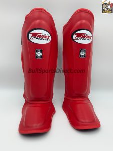Twins Leather Shin Guards Red