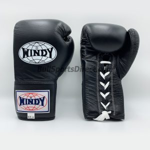 Lace-Up Boxing Gloves - Black