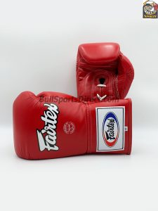 Fairtex BGL6 Red Lace Tie Closure Gloves, Pro Competition
