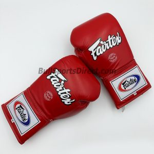 Fairtex BGL6 Lace Tie Closure Gloves, Pro Competition Mode - Red