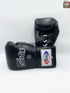 Fairtex Pro Competition Gloves - Locked Thumb Black Leather