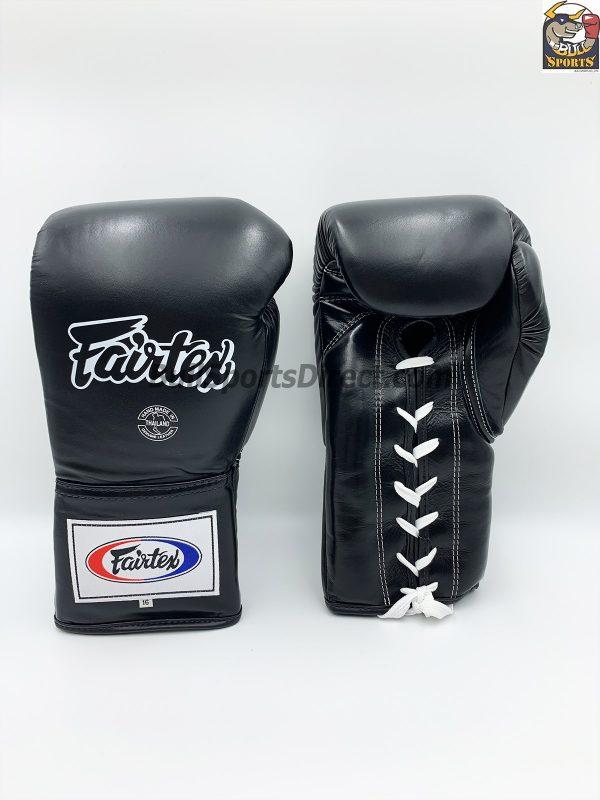 Fairtex BGL6 Lace Tie Closure Gloves, Black Pro Competition