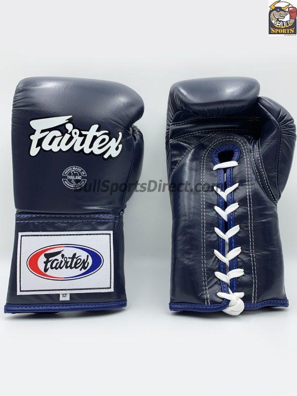 Fairtex BGL6 Lace Tie Closure Gloves, Blue Pro Competition