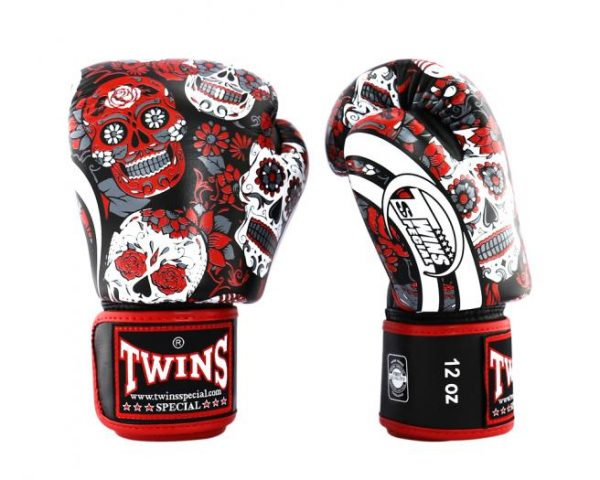 Twins FBGV53 Boxing Gloves Skull Red Collections