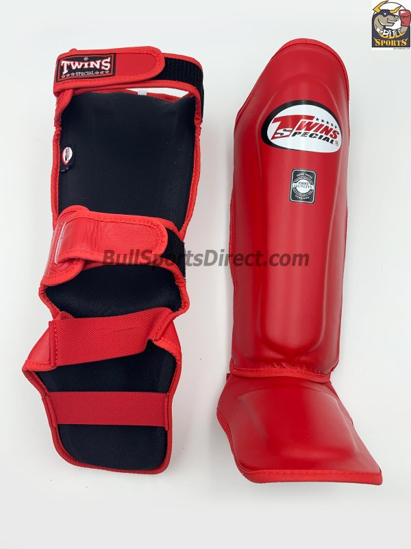 Twins Red Leather Shin Guards