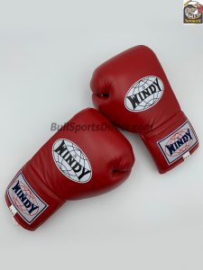 Windy Lace-Up Muay Thai Red Boxing Gloves