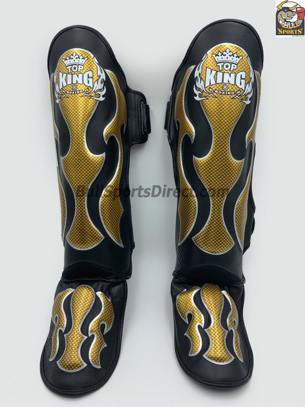 Golden and black Top King Pro Muay Thai Shin pads Empower01