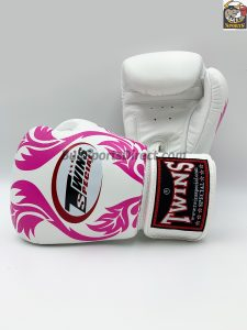 Twins Boxing Gloves-FBGV-11-White Pink Leaf