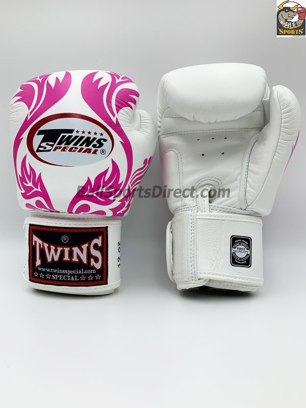 Twins Boxing Gloves-FBGV-11-White Pink Leaf