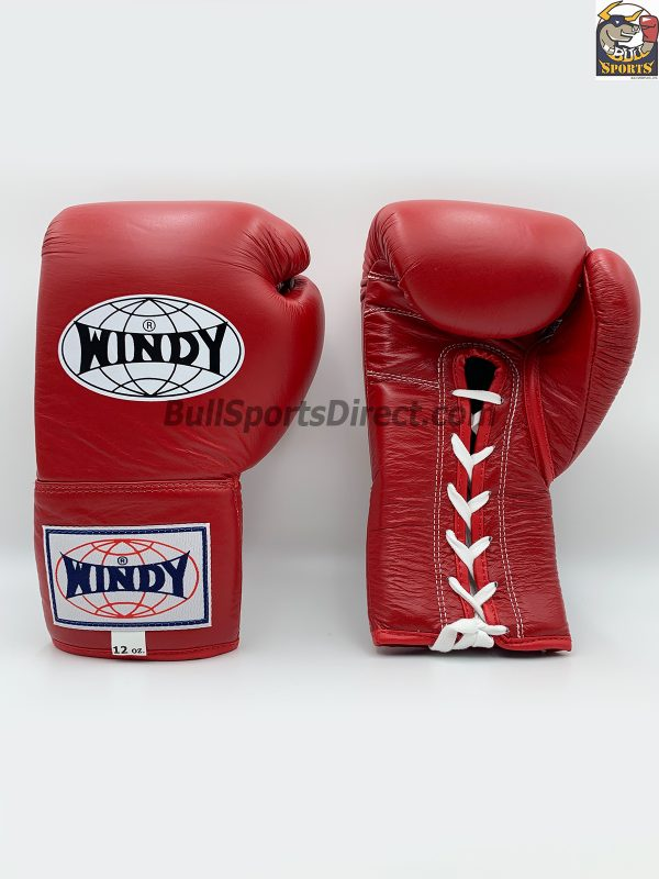 Windy Lace-Up Muay Thai Boxing Gloves - Red