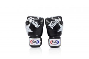 Fairtex BGV1 Boxing Gloves Black Nation Print Tight Fit