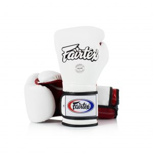 Fairtex Muay Thai White Red Boxing Gloves BGV9
