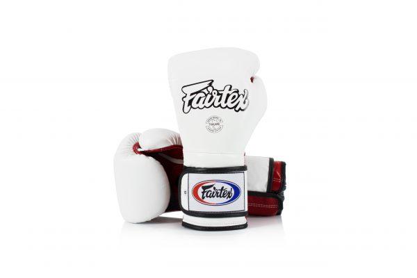 Fairtex Muay Thai White Red Boxing Gloves BGV9