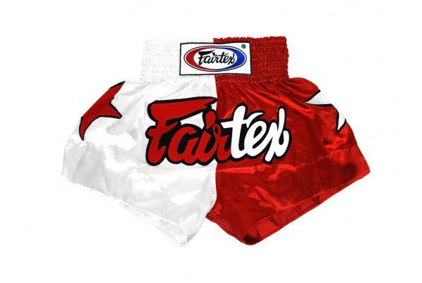 Fairtex Muay Thai Shorts-2 Tones White and Red