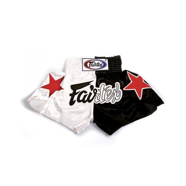 Fairtex Muay Thai Shorts-2 Tones White and Black